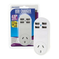 JACKSON Single Plug USB Wall Charger, 4x USB Charging Outlets (2.1A)